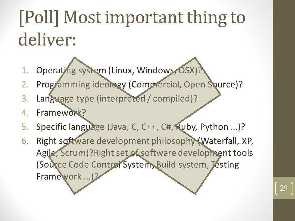 [Poll] Most important thing to deliver: